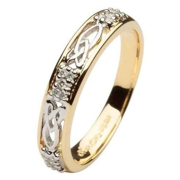 Celtic Diamond Stone Set Two Tone Wedding Ring - Celtic Wedding ...
