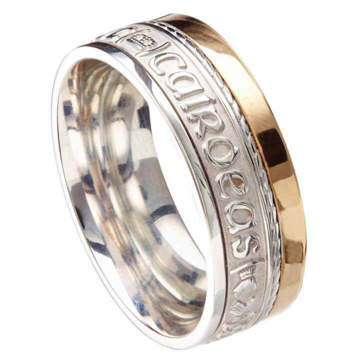 Love Loyalty Friendship Eternal Promise Silver / Yellow Gold Rail Band