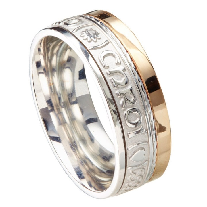 Love Of My Heart Eternal Promise Silver with Yellow Gold Rail Band