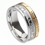 Claddagh Faith Silver with Yellow Gold Rail Band