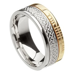 Celtic Knot Faith Silver with Yellow Gold Rail Band
