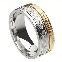 Le Cheile Faith Silver with Yellow Gold Rail Band