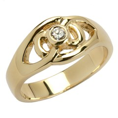 Diamond Set Celtic Yellow Gold Ring with Brilliant Cut Diamond