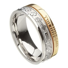 Celtic Cross Faith Silver with Yellow Gold Rail Band