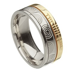 Newgrange Faith Silver with Yellow Gold Rail Band