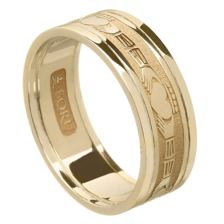 Claddagh Yellow Gold Wedding Band with Trim - Ladies