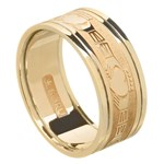 Claddagh Yellow Gold Wedding Band with Trim - Gents