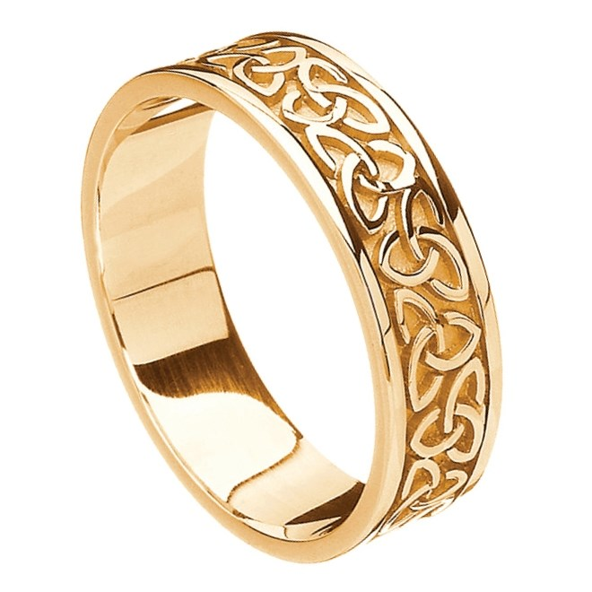 3829e4e0a5b91 Solid Trinity Knot Yellow Gold Band - Celtic Wedding Rings - Rings ...