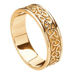 solid trinity knot yellow gold band - Celtic Wedding Ring