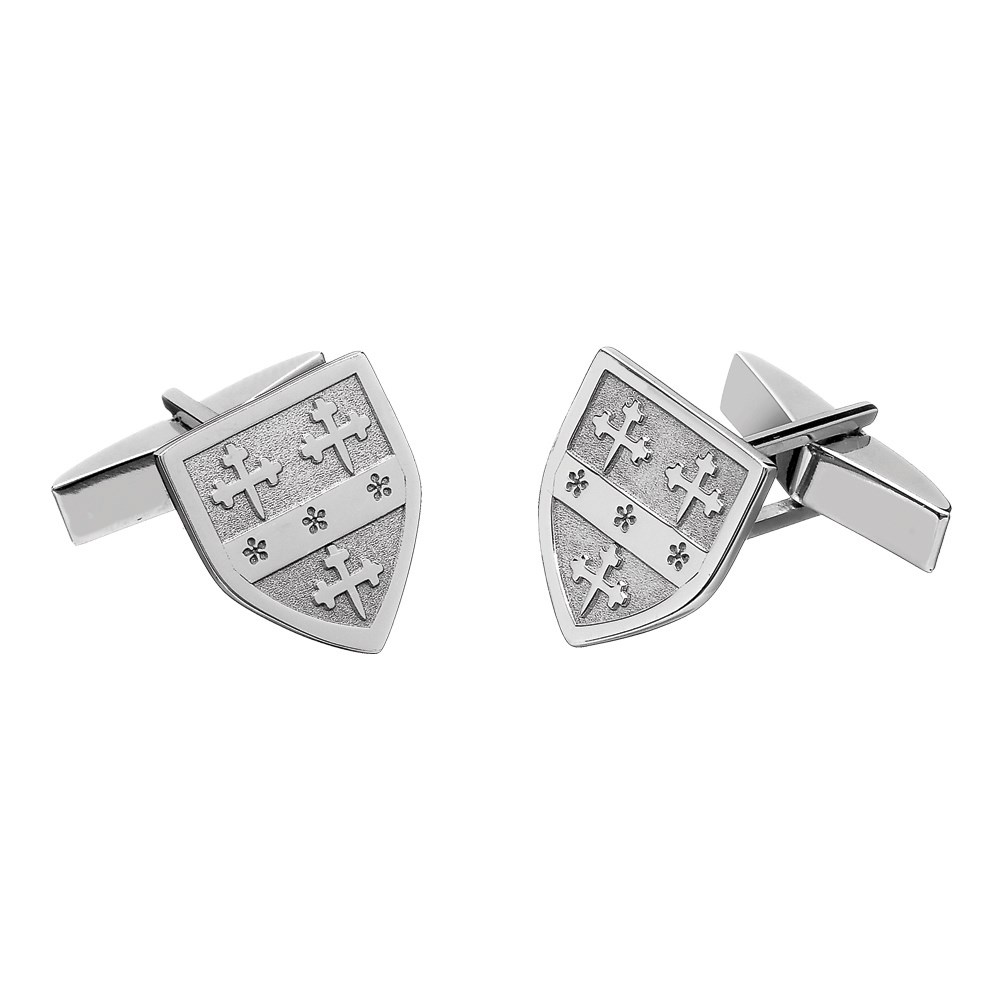 Coat of Arms Shield White Gold Cufflinks