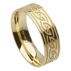 Celtic Waves Wide Yellow Gold Ring