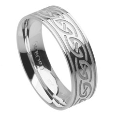 Celtic Waves Wide White Gold Ring