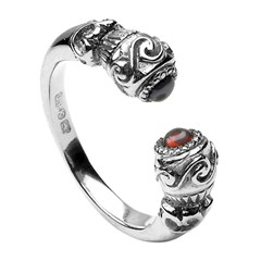 Celtic Stone Set Torc Antique Silver Ring