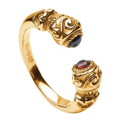 Celtic Red Stone Set Torc Antique Yellow Gold Ring
