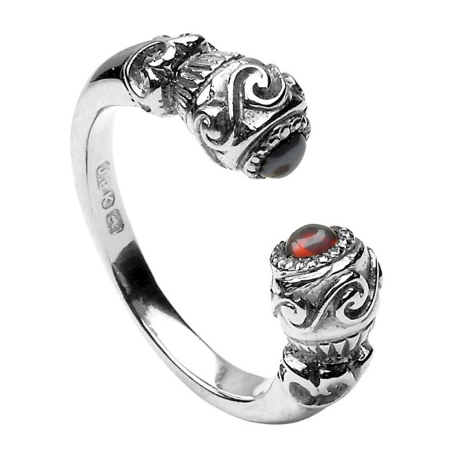 Celtic Red Stone Set Torc Antique White Gold Ring