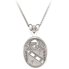 Coat of Arms Large Oval White Gold Pendant