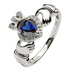 White Gold Claddagh Ring Set With Sapphire and Diamond