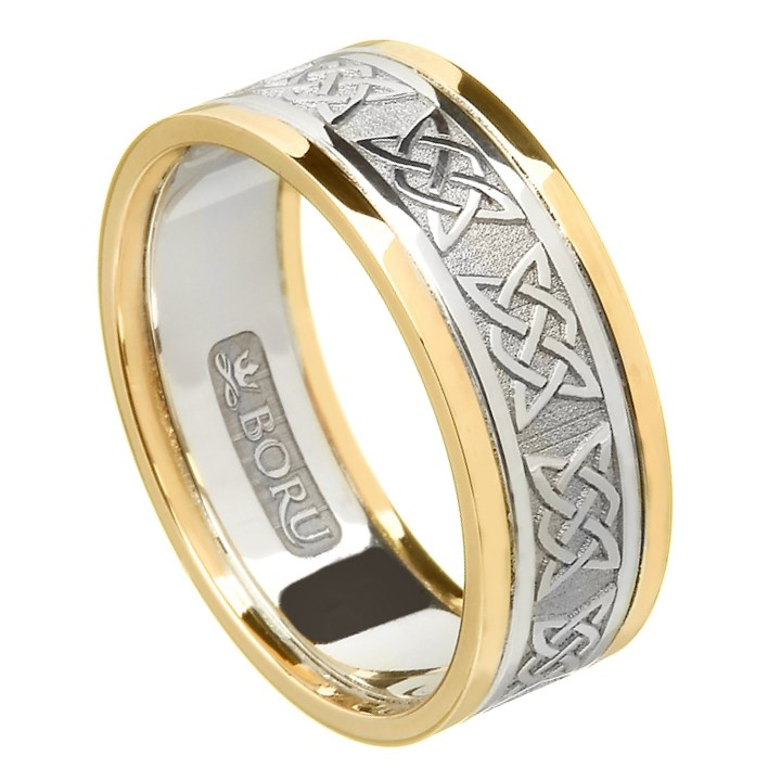Lovers Knot Silver Wedding Band with Gold Trim - Ladies
