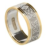 Lovers Knot Silver Wedding Band with Gold Trim - Gents