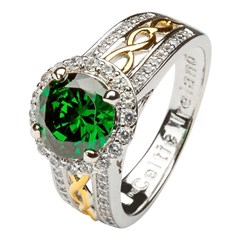Celtic Halo Silver Ring with Green Stone