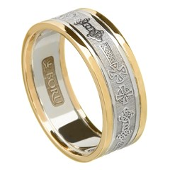 Celtic Cross Silver Wedding Ring with Gold Trim