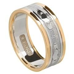 Claddagh Silver Wedding Band with Gold Trim