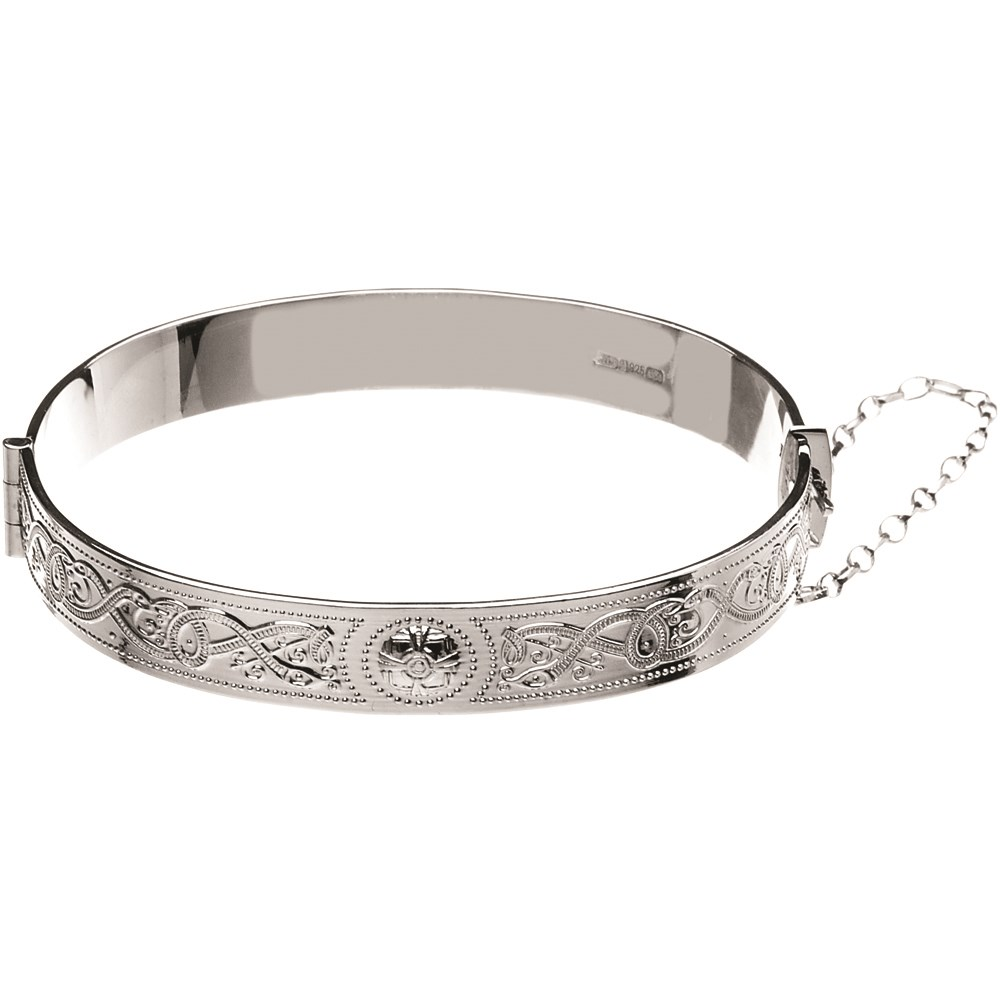 Celtic Warrior White Gold Bangle