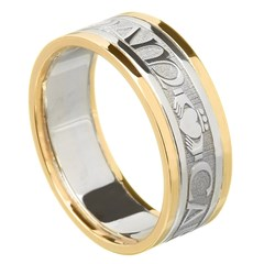 My Soul Mate Silver Wedding Band with Gold Trim