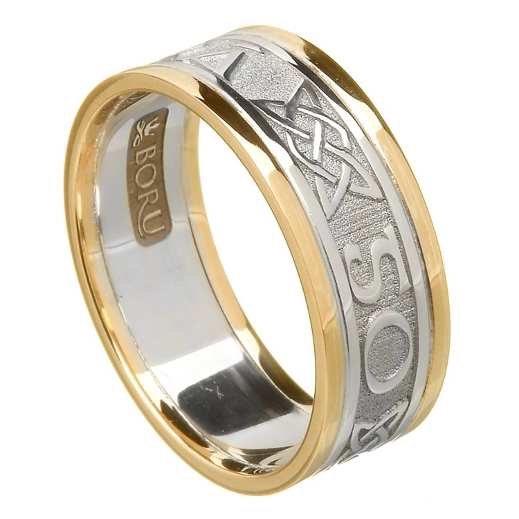 Love Forever Silver Wedding Band with Gold Trim - Ladies