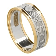 Love Forever Silver Wedding Band with Gold Trim