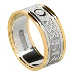 Love Forever Silver Wedding Band with Gold Trim - Gents