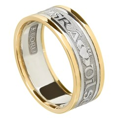Love Loyalty Friendship Silver Wedding Band with Gold Trim
