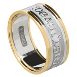 Love Loyalty Friendship Silver Wedding Band with Gold Trim - Gents