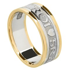 Love Of My Heart Silver Wedding Band with Gold Trim