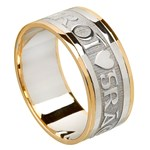 Love Of My Heart Silver Wedding Band with Gold Trim - Gents