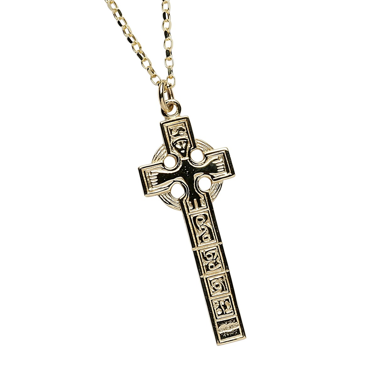 Moone High Cross Yellow Gold Necklace - Front