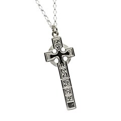 Moone High Cross White Gold Necklace