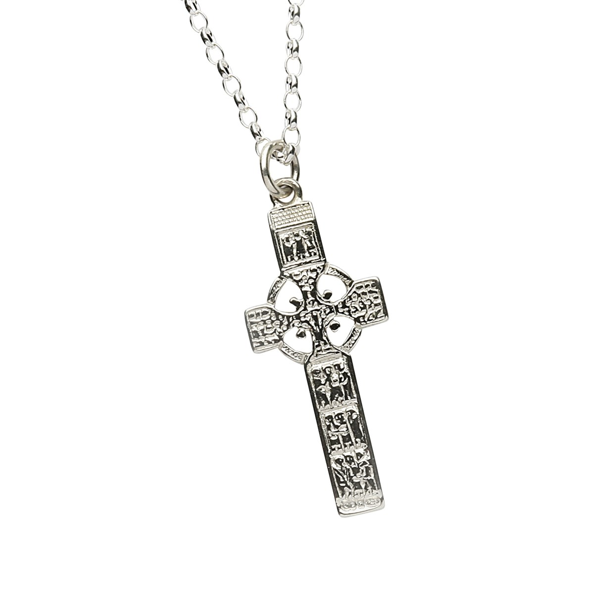 Monasterboice Muiredeach High Cross Small Silver Necklace - Front