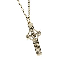 Monasterboice Muiredeach High Cross Small Yellow Gold Necklace