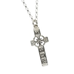 Monasterboice Muiredeach High Cross Small White Gold Necklace