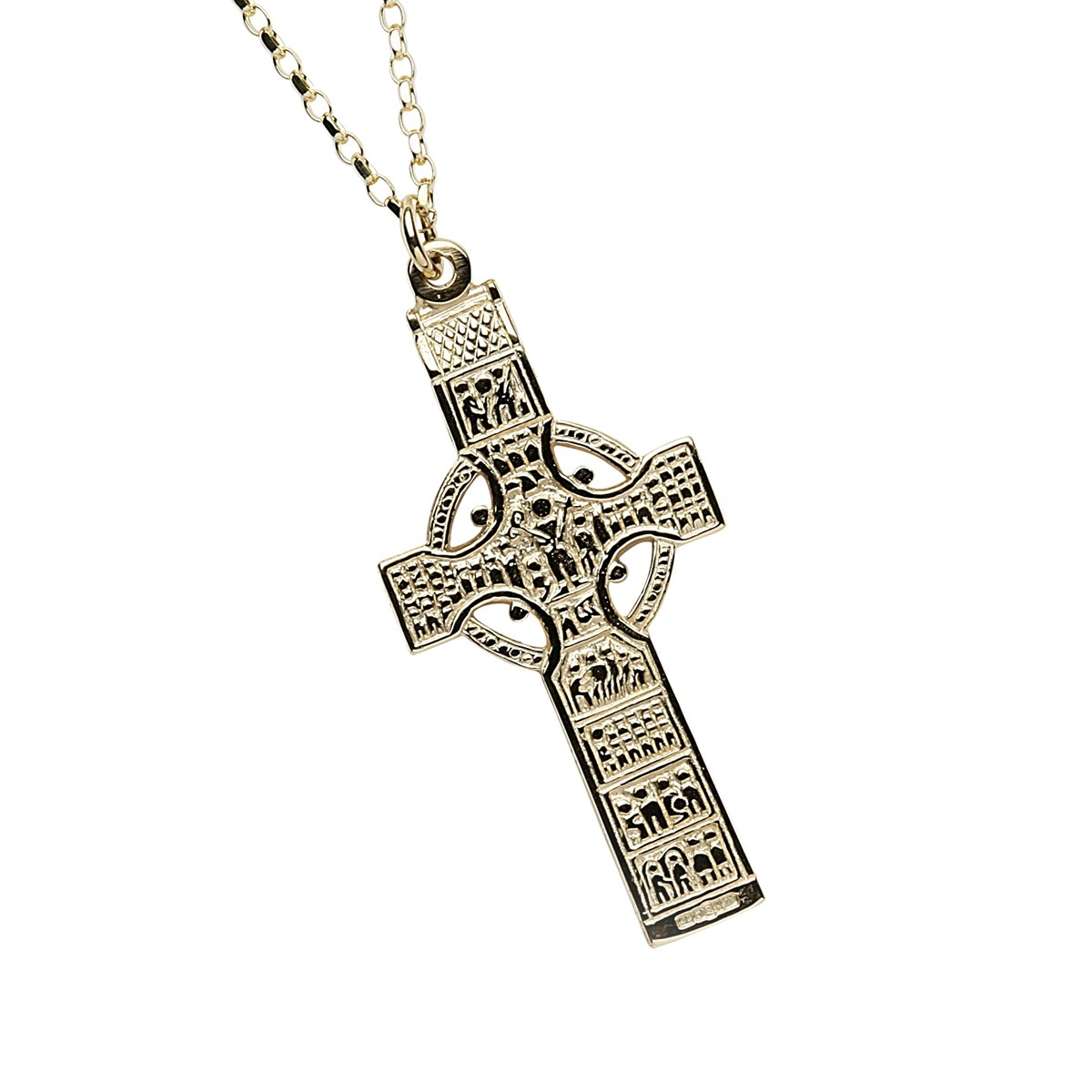 Monasterboice Muiredeach High Cross Large Yellow Gold Necklace - Front