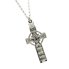 Monasterboice Muiredeach High Cross Large White Gold Necklace