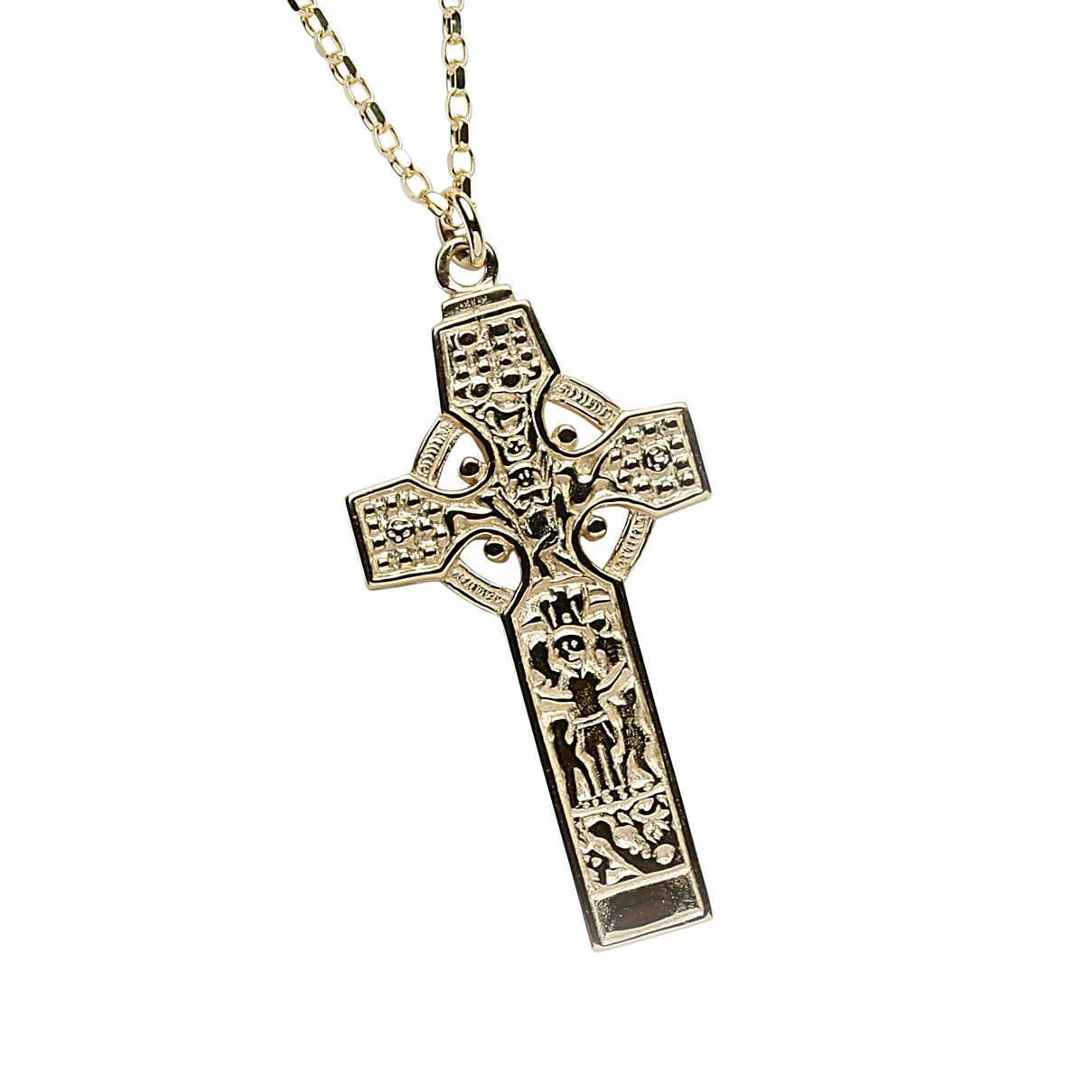 Kells Saint Patrick & Saint Columba High Cross Yellow Gold Necklace - Front