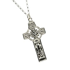 Kells Saint Patrick & Saint Columba High Cross White Gold Necklace