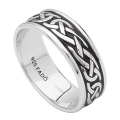 Celtic Knot Black Enamel Silver Ring