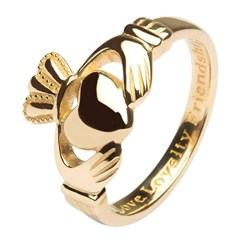 Ladies Love, Loyalty, Friendship Yellow Gold Claddagh Ring