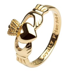 Gents Love, Loyalty, Friendship Yellow Gold Claddagh Ring