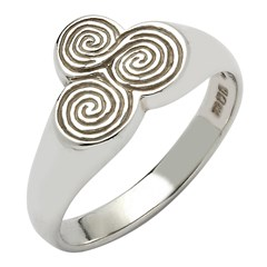 Newgrange Spiral White Gold Ring