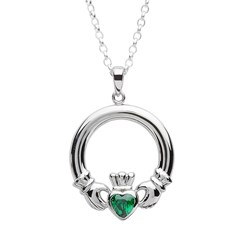 Claddagh Green Stone Set Silver Pendant