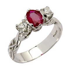 Livia Trilogy with 2 Brilliant Cut Diamonds and Ruby
